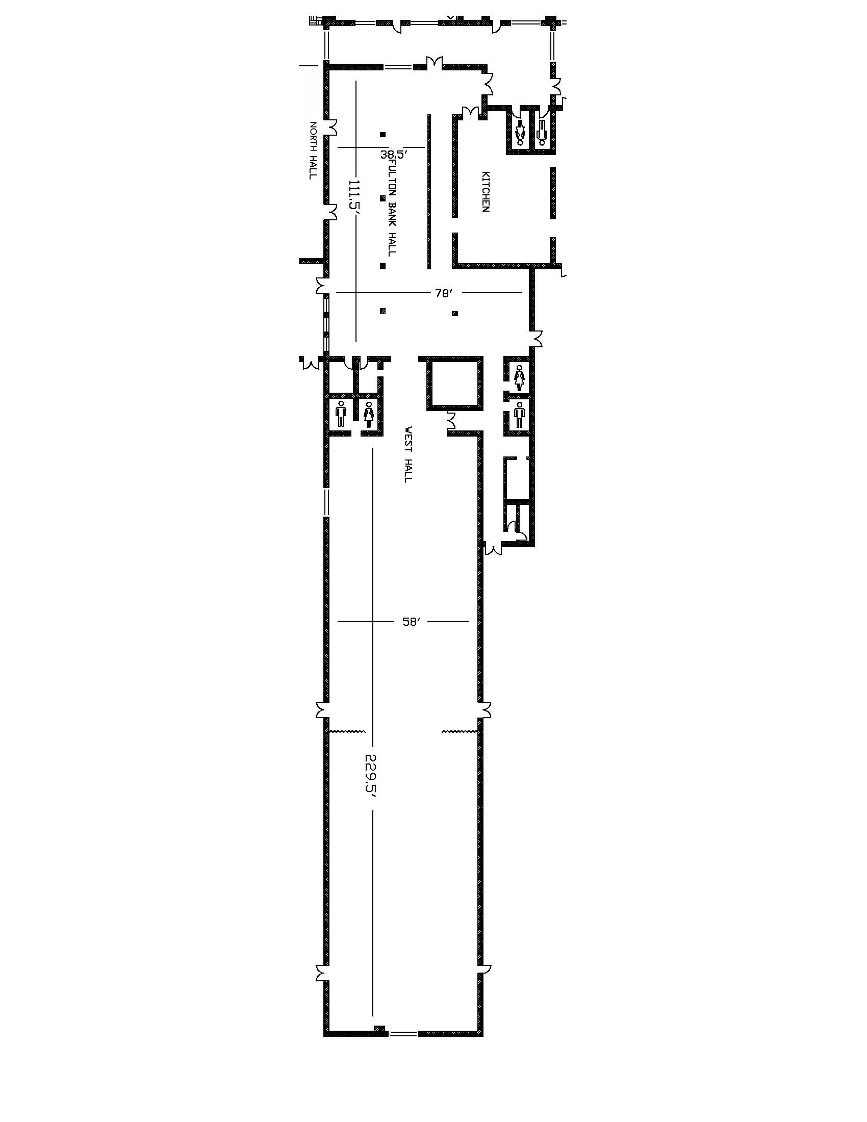 West and Center Hall - Floor Plan